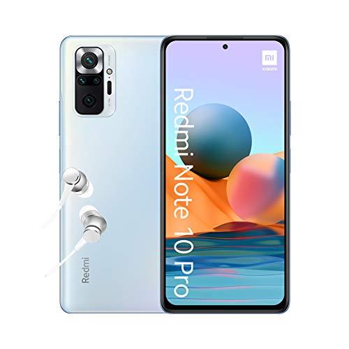 "Xiaomi Redmi Note 10 Pro - Smartphone 6+64GB, 6,67"" 120Hz AMOLED DotDisplay, Snapdragon 732G, 108MP Quad Caméra, 5020mAh, Bleu Glacier (Version Française + 2 ans de garantie) Exclusivité Amazon"