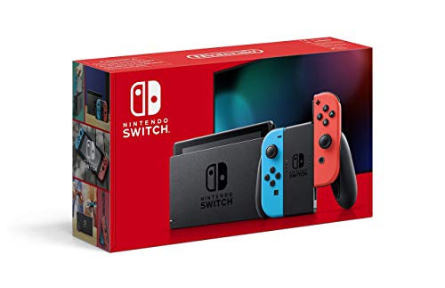 Nintendo Switch with pair of Neon Red and Neon Blue Joy-Con