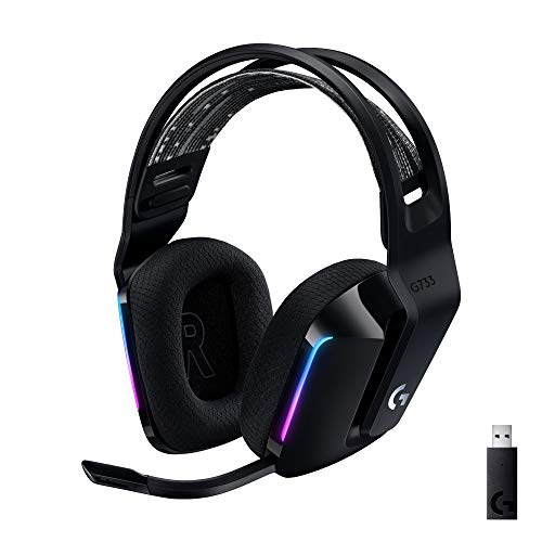 Auriculares inalámbricos para juegos Logitech G733 LIGHTSPEED con diadema, LIGHTSYNC RGB, Blue VO!  Tecnología de micrófono CE, transductores de audio PRO-G, ultraligero, batería de 29 h, alcance de 20 m - negro